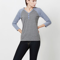 LE3NO Womens 3/4 Raglan Sleeve Color Block Henley Shirt Top