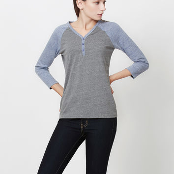 3/4 Raglan Sleeve Color Block Henley Shirt Top