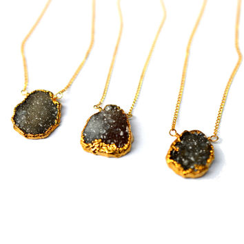 Black Drusy Pendant Necklace
