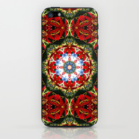 Red lily, blue sky and evergreen mandala II iPhone & iPod Skin by RVJ Designs