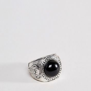 Icon Brand burnished silver signet ring with black onyx stone at asos.com