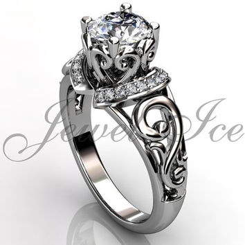 Engagement Ring - 14k White Gold Diamond Unique Art Deco Filigree Scroll Engagement Ring Wedding Ring Anniversary Ring ER-1124-1