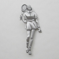 JJ Signed Tennis Player Pewter Brooch Deco ish Style