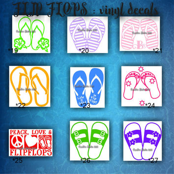 FLIP FLOPS vinyl decals | summertime | beach | decal | sticker | car decals | car stickers | laptop sticker - 19-27