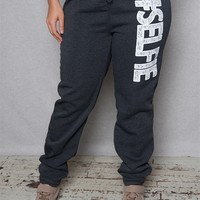 Luscious Cream #selfie Plus-Size Sweatpants With Lace Lettering - Charcoal