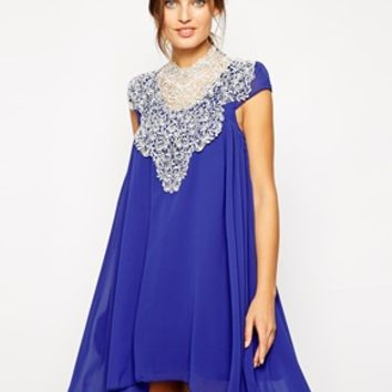 Lydia Bright Evangeline Swing Dress with Crochet Trim - Blue with whit