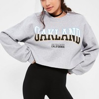 Missguided - Grey Oakland Cropped Sweatshirt