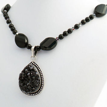 Black Druzy Teardrop Onyx Crystal Pendant Beaded Necklace, Natural Stone Jewelry