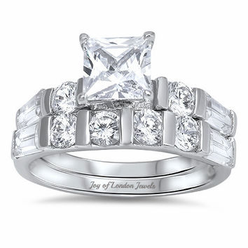 A Perfect 1.7CT Princess Cut Solitaire Russian Lab Diamond Bridal Set Wedding Band Rings