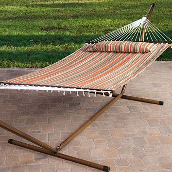 Red White Brown Stripe Quilted 13-Ft Hammock with Faux Mahogany Wood-Grain Metal Stand