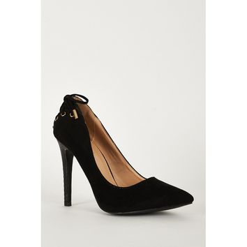Black High Heel Lace Detailed Court Shoes
