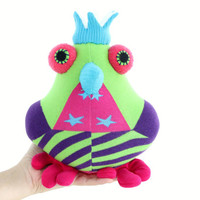 Cheerful birds bird toy  Green  birds Nursery decor Stuffed Baby bird toy Soft baby gift Playful birds with Blue  Crown Blue mouth  Red paw