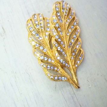 Vintage Double Leaf Brooch, Gold Tone Rhinestone Leaf Pin, Garden Brooch