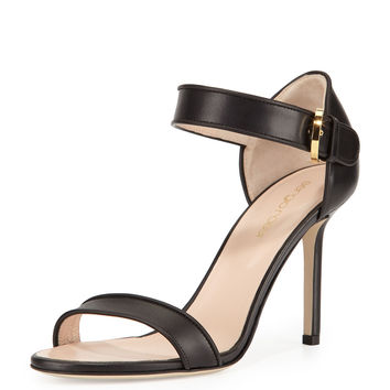 Leather Closed-Heel Sandal, Black