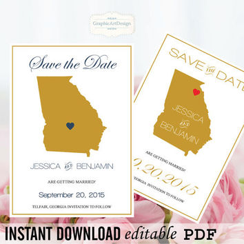 Georgia State Map Save the Date Editable PDF Templates - Georgia Gold State Map Save the Date Printable - Instant Download - DIY You Print