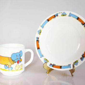 Blue dachshund mug and plate, Arcopal dachshund set, dachshund lover gift, vintage dog decor, dachshund dog breakfast set, dachshund art