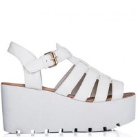 SURF Cut Out Cleated Sole Flatform Platform Sandal Shoes - White Leather Style