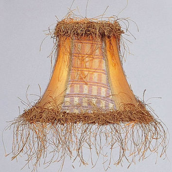 0-013384>3x6x5 Chandelier Bell Lamp Shade Gold Panel