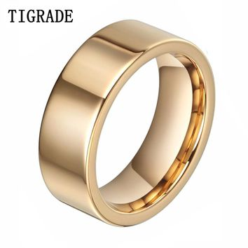 8mm Fashion Golden Men Tungsten Carbide Ring Male Fashion Jewelry  Golden Wedding Bands  Anillos Mujer Anels Lord Of Rings