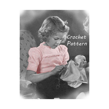 Girl's Yoke Blouse with Puff Sleeves Crochet Pattern Sz 6, 8, 10 || Vintage 1940's || Reproduction PDF Instant Download 5128-175