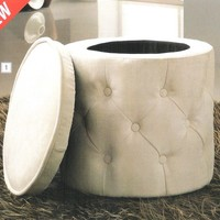 A.M.B. Furniture & Design :: Living room furniture :: Ottomans & Footstools :: Beige tufted fabric upholstered round storage ottoman