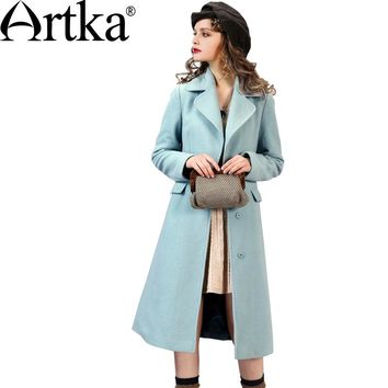 Artka Women's Autumn New 2 Colors Slim Fit Wool Coat Turn-down Collar Long Sleeve Single Breasted Cinched Waist Coat FA10267Q