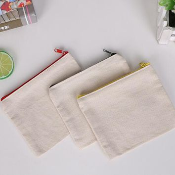blank canvas zipper Pencil cases pen pouches cotton cosmetic Bags makeup bags Mobile phone clutch bag organizer SL6092