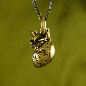 "Gold Heart Necklace - Small 24 Karat Gold Plated Anatomical Heart Pendant on 24"" Gunmetal Chain - Heart of Gold"