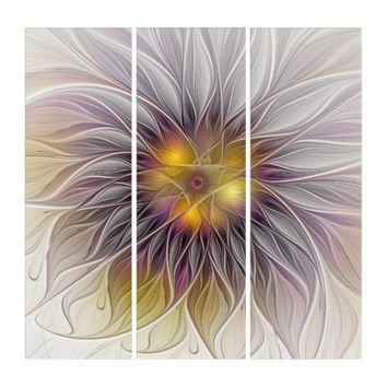 Luminous Colorful Flower, Abstract Modern Fractal Triptych