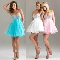 Short Beaded Organza Ball/Cocktail/Party/Homecoming/Prom dress/SZ 6-8-10-12-14