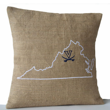 Burlap Logo Pillows- State Pillow with Logo- Embroidered pillow- Personalized Pillow- Customized Map- Gift- 26x26- California Cushion