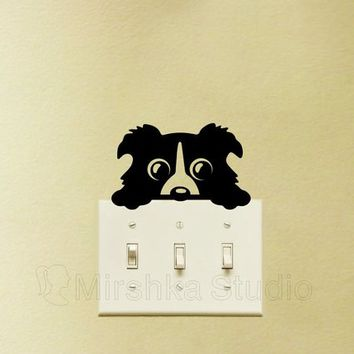 Cute Dog Light Switch Decal - Peeking Dog Sticker - Kids Room Wall Decor - Gifts For Dog Lovers - Dog Decor - Window Sticker - Window Art
