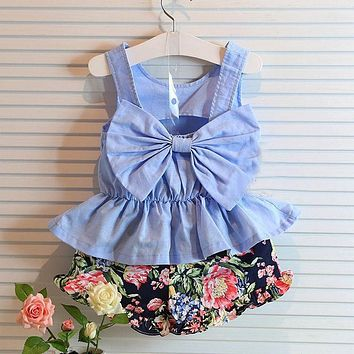 Flower Sleeveless Vest T-shirt Tops Vest + Shorts Pants Outfit Girl Clothes Set 2pcs Baby Children Girls Kids Clothing Bow knot