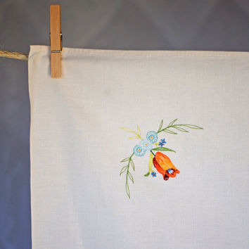 Vintage Embroidered Floral Tablecloth Supper Cloth Autumn/Fall Colours Cream Ecru Floral Orange & Blue Flowers