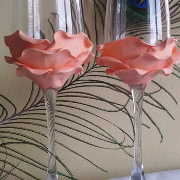 Wedding Glasses Peach Rose Champagne Flutes Hand Decorated Set of 2