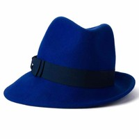 ZLYC Women 100% Wool Fashion Winter Felt Fedora Bowler Hat Cloche Bowknot Cap Blue