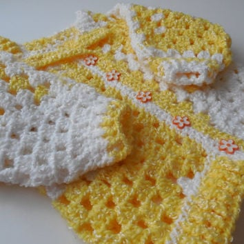 Crochet - Baby Sweater - 3 to 6 Months - Yellow and White - Baby Girl Sweater - Handmade - Ready to Ship