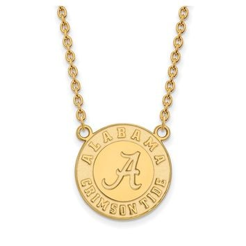 NCAA 14k Yellow Gold U of Alabama Lg Logo Disc Pendant Necklace