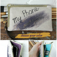 Geometric IPhone 6 Wallet Wristlet Fabric Linen Free Motion Embroidery Phone Lavender Case Hand Painted Purple Rustic Samsung Personalized