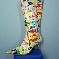 Vintage Go Go Boots 80s Pin Up Costume Vinyl Zip Up  Shoes Size 8