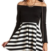 OFF-THE-SHOULDER STRIPED SKATER DRESS