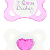 MAM Love and Affection, I Love Daddy, Silicone Pacifier, Girl, 0-6 Months, 2 Count