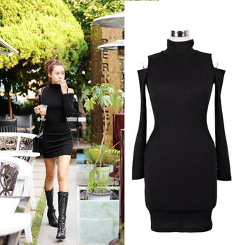 New Fashion Clinging Tight Fitting Long Sleeve Sexy Neck Cotton Casual Off Shoulder Soft Mini Dress