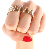 Double Finger Spike Knuckle Ring