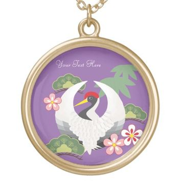 Japanese Good Luck Symbols Cool Elegant Purple Round Pendant Necklace