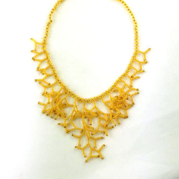 Gold Yellow Necklace. Bridesmaid Necklace. Wedding Necklace. Bridal Necklace. Beadwork