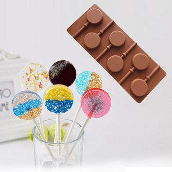 Kitchen Silicone Round Lollipop Cake Chocolate Soap Pudding Jelly Candy Ice Cookie Biscuit Mold Mould Pan Bakeware  Hot Sale