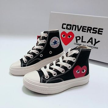 CDG Play x Converse Chuck Taylor 70s All Star High Top Black White Canvas Child Sneaker Toddler Kid Shoes - Coabety