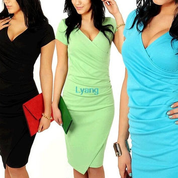 2014 Newest Summer Women's Short Sleeve V-neck Elegant Casual Formal Work Evening sexy Pencil Plus Size Dress = 1932302468