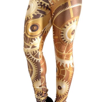BadAssLeggings Women's Golden Gears Leggings Large